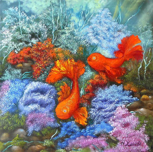Картина золотые рыбки символ фен шуй любви талисман, Картины, Санкт-Петербург,  Фото №1