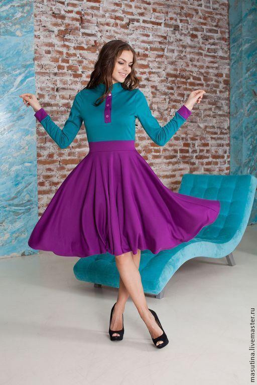 """Платья ручной работы. Ярмарка Мастеров - ручная работа. Купить Платье """"Бирюза и фиалка"""". Handmade. Разноцветный, фиолетовое платье"""
