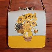 """Сумки и аксессуары handmade. Livemaster - original item Van Gogh. Leather yellow bag """"Sunflowers"""". Handmade."""