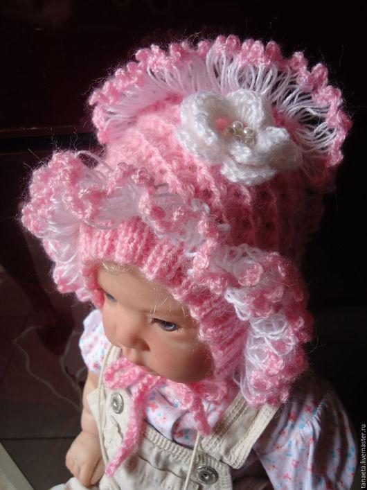 Для новорожденных, ручной работы. Ярмарка Мастеров - ручная работа. Купить Чепчик вязаный. Handmade. Бледно-розовый, чепчик для девочки
