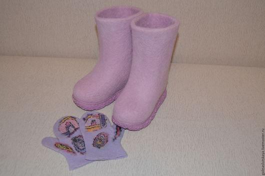Обувь ручной работы. Ярмарка Мастеров - ручная работа. Купить Детские валенки. Handmade. Бледно-сиреневый, валенки ручной работы