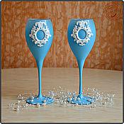 """Свадебный салон ручной работы. Ярмарка Мастеров - ручная работа Свадебные бокалы """"Шебби Шик"""" (голубой). Handmade."""