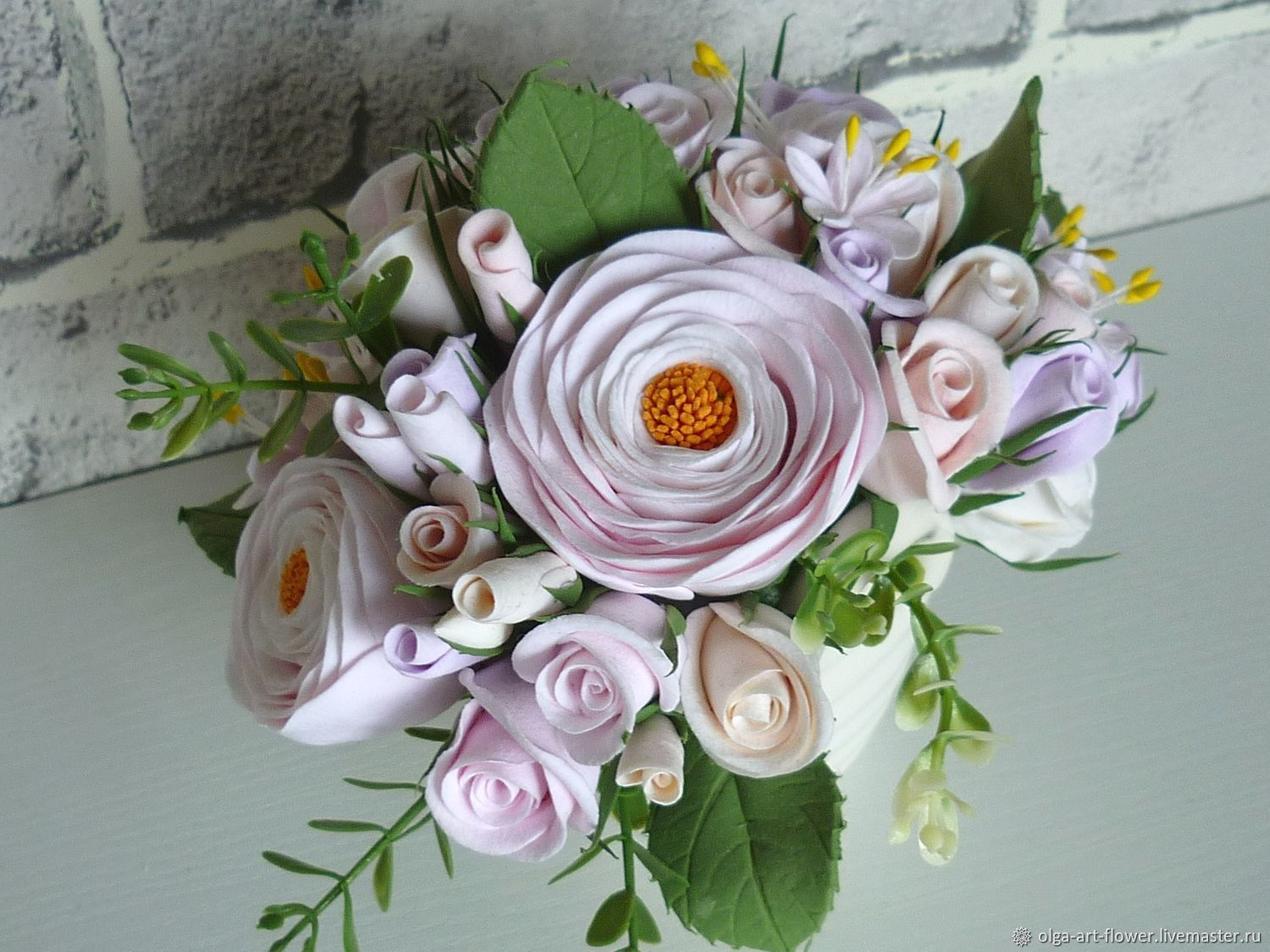 The bouquet in the bag. Pastel. Flowers polymer clay handmade, Composition, Moscow,  Фото №1