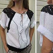 Одежда ручной работы. Ярмарка Мастеров - ручная работа Блуза  с черным кружевом. Handmade.