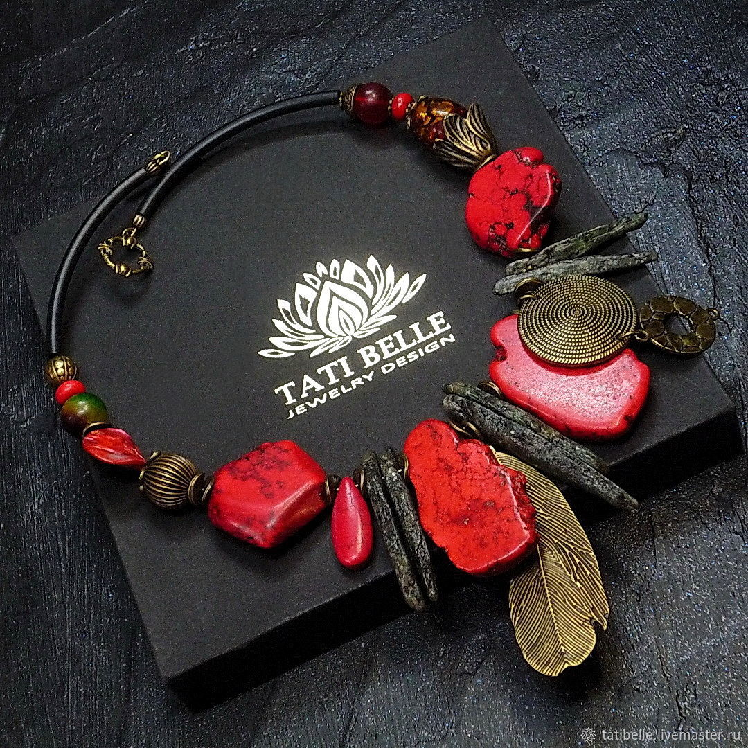 Necklace of natural stones 'Lady of Fire', Necklace, Moscow,  Фото №1