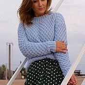 Одежда handmade. Livemaster - original item Blue women`s sweater `Hive`. Handmade.