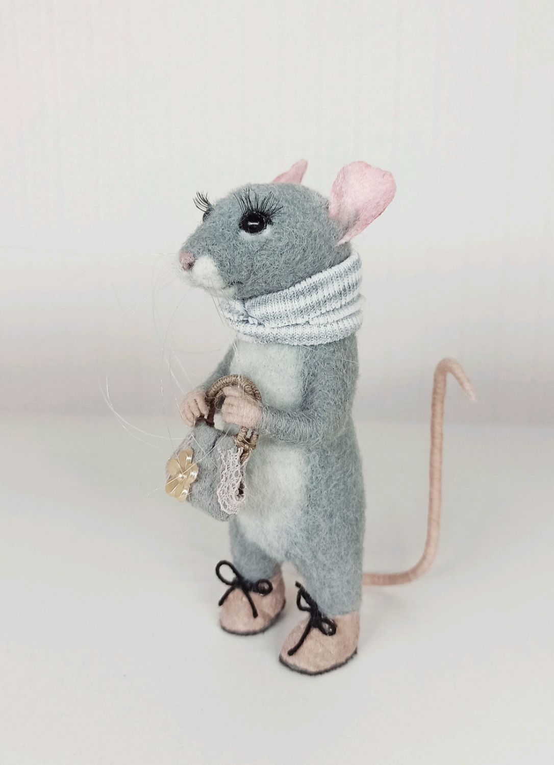GRAY MOUSE, Felted Toy, Moscow,  Фото №1