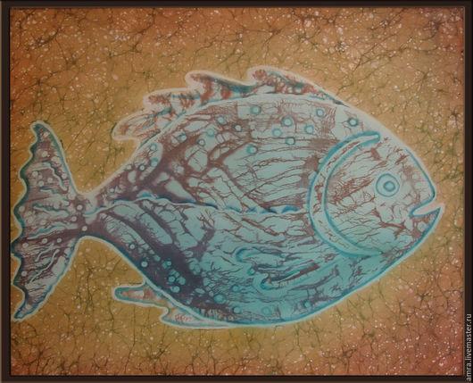 """Животные ручной работы. Ярмарка Мастеров - ручная работа. Купить Панно """"Рыб"""". Handmade. Комбинированный, Батик, панно батик"""