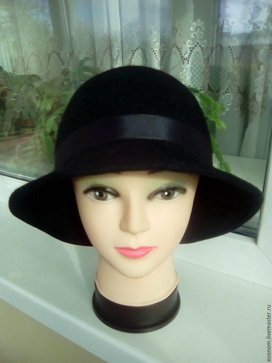 Шляпы ручной работы. Ярмарка Мастеров - ручная работа. Купить Фетровая шляпка Клош черная. Handmade. Черный, фетровая шляпа