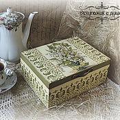 """Для дома и интерьера ручной работы. Ярмарка Мастеров - ручная работа Шкатулка для чая """"Ландыши"""". Handmade."""