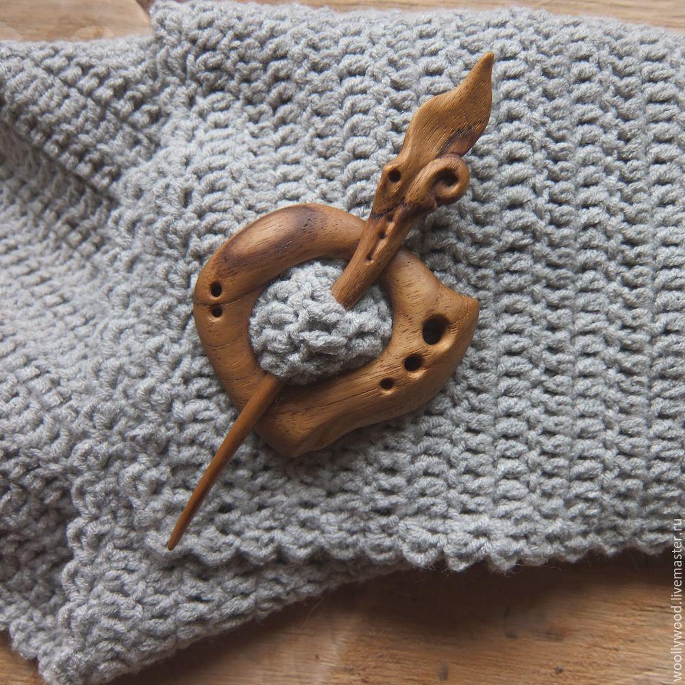 Hair clip brooch for shawl wood, Fibula brooch, Pskov,  Фото №1
