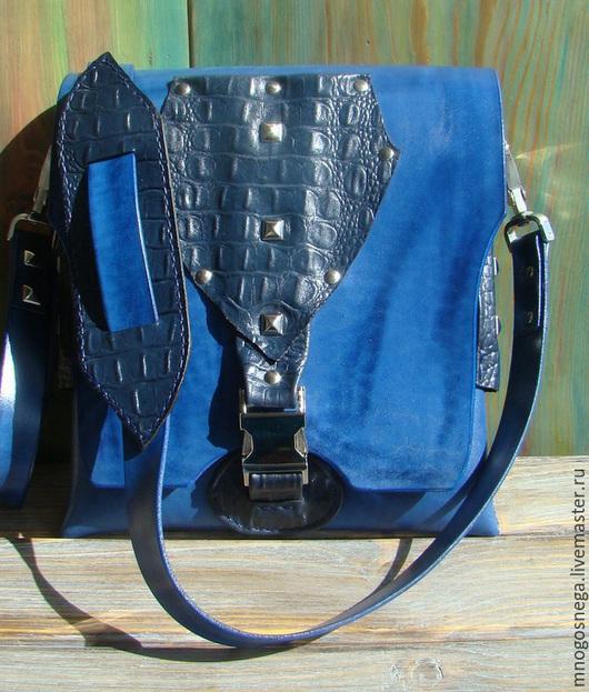 Мужские сумки ручной работы. Ярмарка Мастеров - ручная работа. Купить Мужская сумка планшет Кайман.. Handmade. Синий