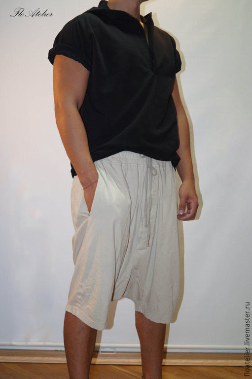 Брюки, шорты ручной работы. Ярмарка Мастеров - ручная работа. Купить Koроткие мужские брюки/Фитнес Брюки/F1262. Handmade. Белый