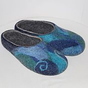 """Обувь ручной работы. Ярмарка Мастеров - ручная работа Тапочки валяные """"Небесная мозаика"""". Handmade."""