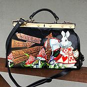 Сумки и аксессуары handmade. Livemaster - original item Hand painted Alice in Wonderland doctor bag. March Rabbit art. Handmade.