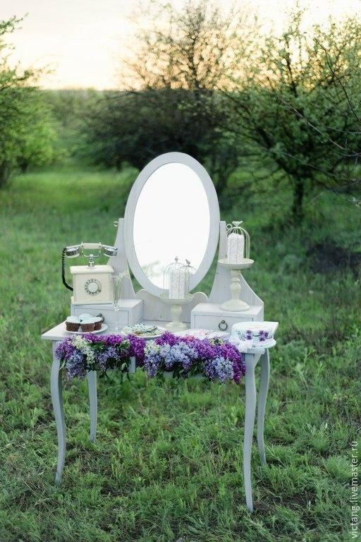 Мебель ручной работы. Ярмарка Мастеров - ручная работа. Купить Туалетный столик с овальным зеркалом. Handmade. Белый, дерево, дерево