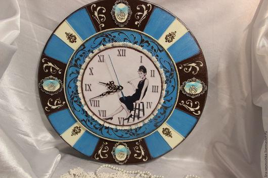 Часы для дома ручной работы. Ярмарка Мастеров - ручная работа. Купить Завтрак у Тиффани. Часы. Handmade. Голубой, подарок девушке