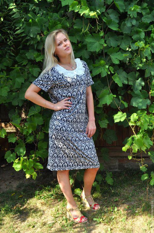 Платья ручной работы. Ярмарка Мастеров - ручная работа. Купить Платье из трикотажа с белым воротничком. Handmade. Синий, эластан