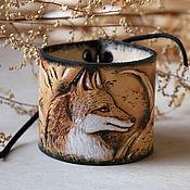Украшения ручной работы. Ярмарка Мастеров - ручная работа Кожаный браслет с тиснением Лиса. Handmade.