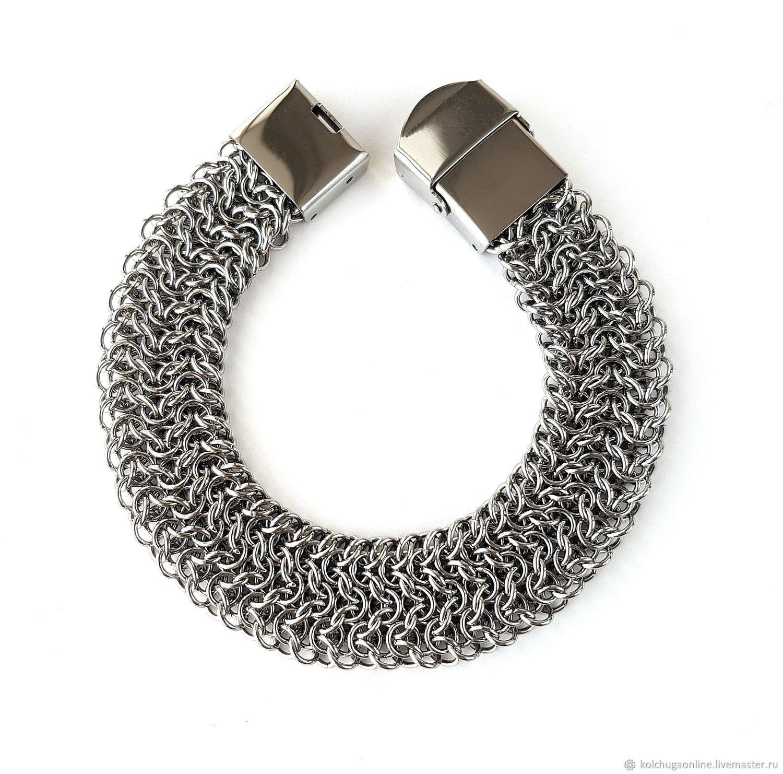 Wide Stainless Steel Chainmaille Bracelet Elfsheet Weave, Braided bracelet, St. Petersburg,  Фото №1