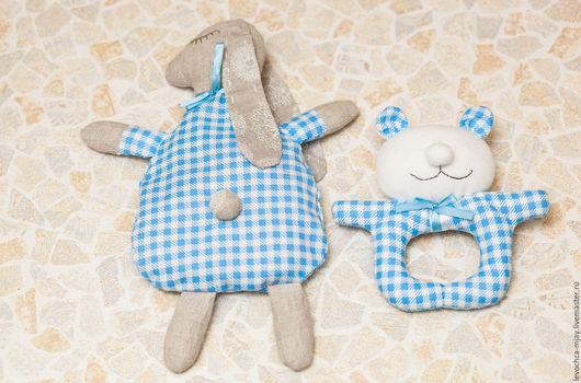 Развивающие игрушки ручной работы. Ярмарка Мастеров - ручная работа. Купить Набор для самых маленьких (грелочка и погремушка). Handmade. Голубой