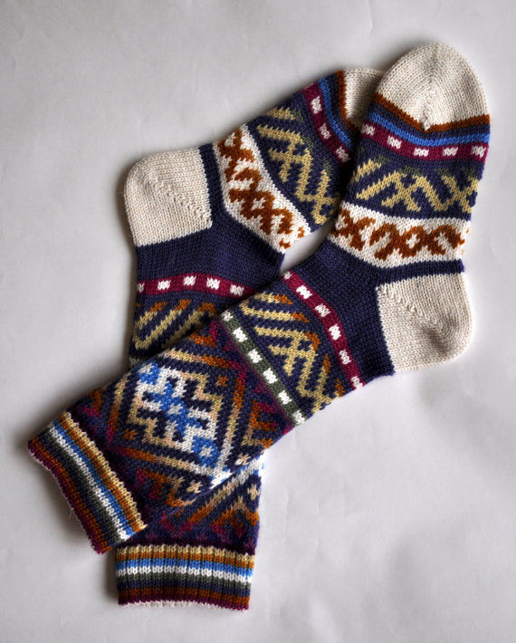 "Knitted wool socks ""Finno- Ugric"", Socks, St. Petersburg,  Фото №1"