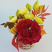 Цветы и флористика ручной работы. Ярмарка Мастеров - ручная работа Осенний букет с розой и тыквами. Handmade.