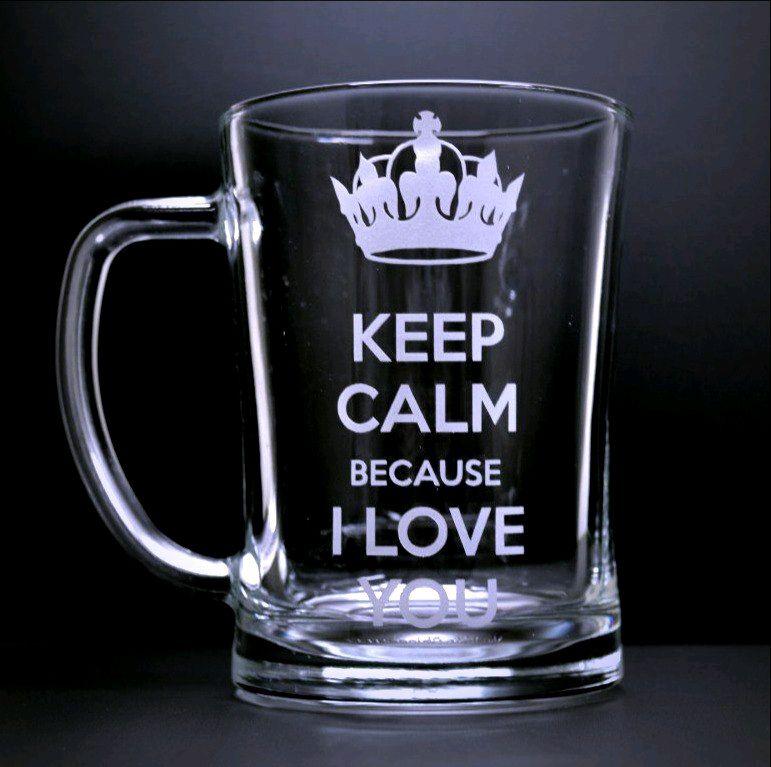 Кружка для пива Keep calm because i love you, Кружки, Краснодар,  Фото №1