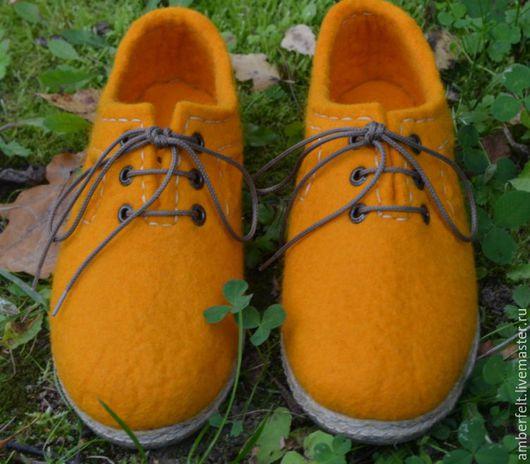 """Обувь ручной работы. Ярмарка Мастеров - ручная работа. Купить Туфли  валяные """"Настроение"""".. Handmade. Желтый, обувь для улицы"""