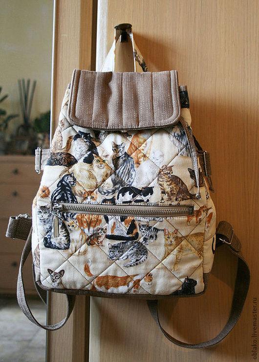 Женские сумки ручной работы. Ярмарка Мастеров - ручная работа. Купить Кото-рюкзак летний. Handmade. Коты, сумка летняя