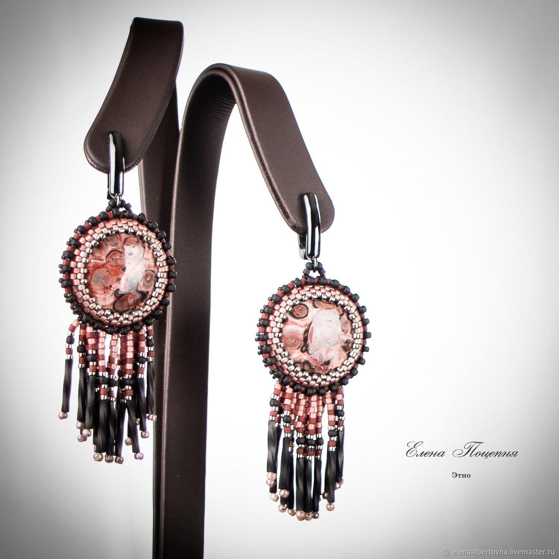 Handmade Earrings Fair Masters Black Pink Ethnic