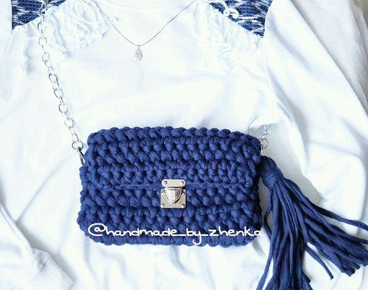 Женские сумки ручной работы. Ярмарка Мастеров - ручная работа. Купить Темно-синяя вязаная сумка. Handmade. Вязаная сумка