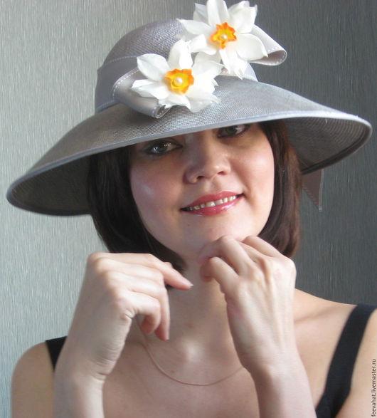 """Шляпы ручной работы. Ярмарка Мастеров - ручная работа. Купить Летняя нарядная шляпа """"Нарциссы"""". Handmade. Шляпа, нарциссы"""