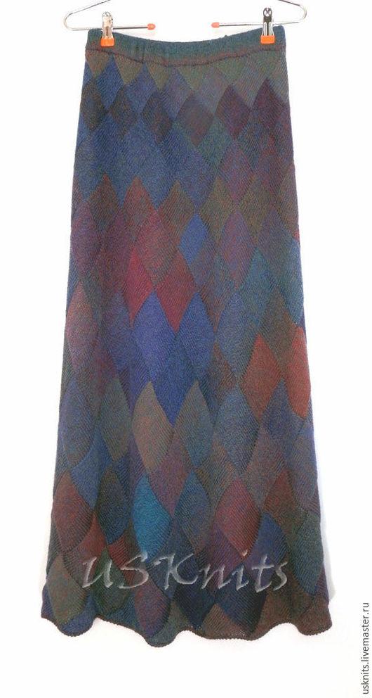 Вязаная юбка из шерсти  в технике энтрелак без швов. Вязаная юбка мягкая, тонкая, нежная, теплая, уютная, шелковистая.