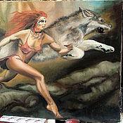 Картины и панно ручной работы. Ярмарка Мастеров - ручная работа картина девушка с волком. Handmade.