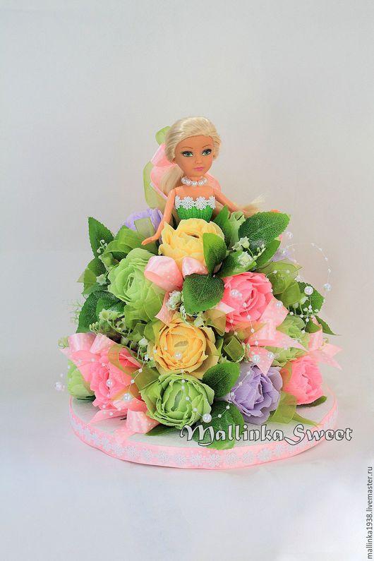 """Букеты ручной работы. Ярмарка Мастеров - ручная работа. Купить Букет из конфет, кукла из конфет  """"Барби"""". Handmade. Розовый"""