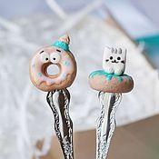 """Подарки ручной работы. Ярмарка Мастеров - ручная работа Подарочный набор """"Пончики"""" Ложечка+ вилочка. Handmade."""