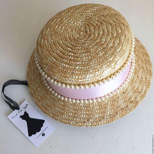 """Шляпы ручной работы. Ярмарка Мастеров - ручная работа. Купить Шляпка """"Канотье"""" ЖЕМЧУГ 2. Handmade. Бежевый, шляпка женская"""