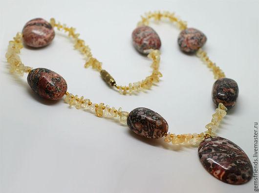 Колье, бусы ручной работы. Ярмарка Мастеров - ручная работа. Купить Ожерелье из натуральной Яшмы и Цитрина. Handmade. Природные камни