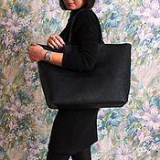 Кожаная сумка женская черная натуральная кожа большая сумка
