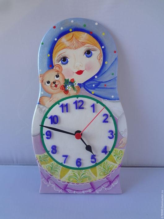 Часы для дома ручной работы. Ярмарка Мастеров - ручная работа. Купить Часы - матрёшка.. Handmade. Комбинированный, настенные часы