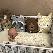 Работы для детей, handmade. Livemaster - original item Animals-pillows in the crib for a boy/girl, bumpers in the crib. Handmade.