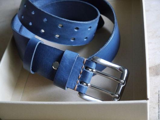 Пояса, ремни ручной работы. Ярмарка Мастеров - ручная работа. Купить Ремень кожаный Antique Blue. Handmade. Тёмно-синий