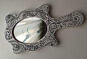 """Для дома и интерьера ручной работы. Ярмарка Мастеров - ручная работа Зеркало с ручкой """"чёрное и белое"""". Handmade."""