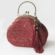 Сумки и аксессуары handmade. Livemaster - original item Leather bag RED GOLD PAISLEY.Bag clasp. Handmade.