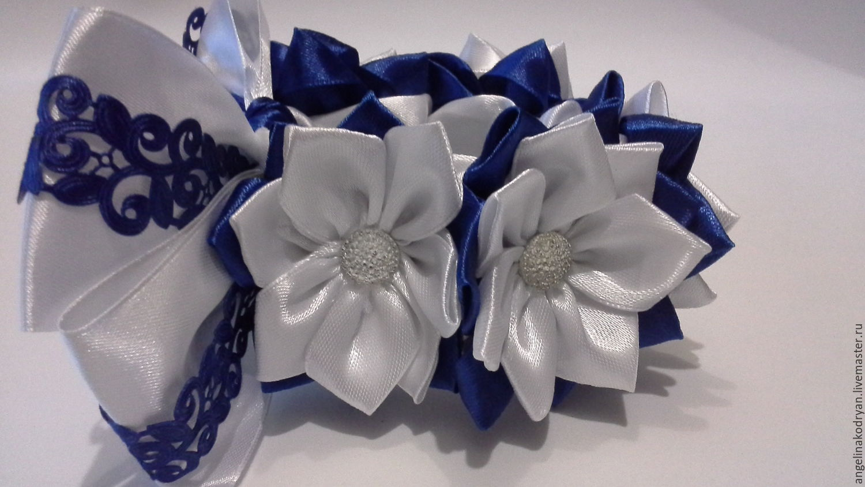 Decoration elastic beam(bun) white-blue, Hairpins and elastic bands for hair, Belgorod,  Фото №1