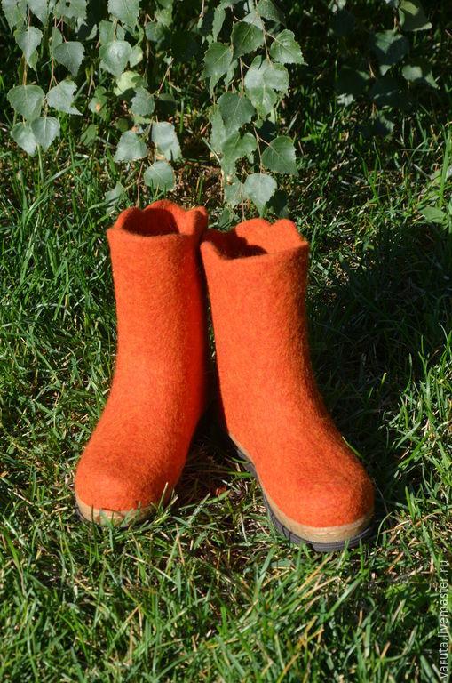 Обувь ручной работы. Ярмарка Мастеров - ручная работа. Купить Сапожки валяные детские Осень. Handmade. Рыжий, ручная работа