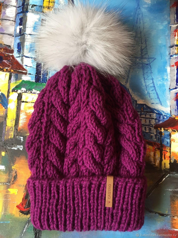 Вязаная шапка с помпоном фиолетового цвета, Шапки, Москва,  Фото №1