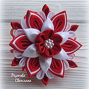 Работы для детей, handmade. Livemaster - original item Scrunchy Magic red in the technique of kanzashi. Handmade.