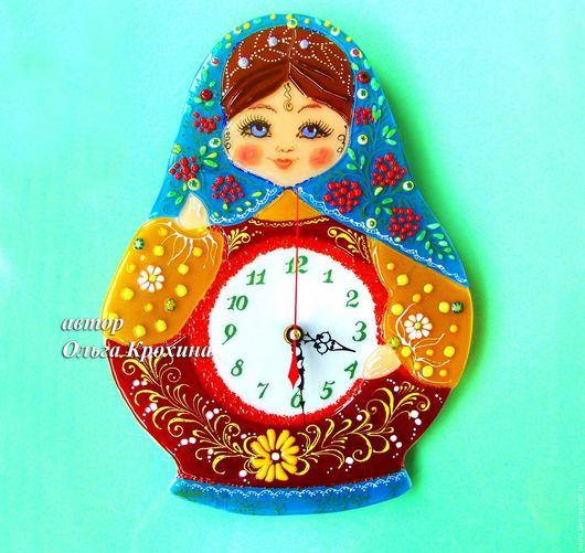 Часы для дома ручной работы. Ярмарка Мастеров - ручная работа. Купить Часы  из стекла, фьюзинг Матрешка, настенные часы стекло. Handmade.